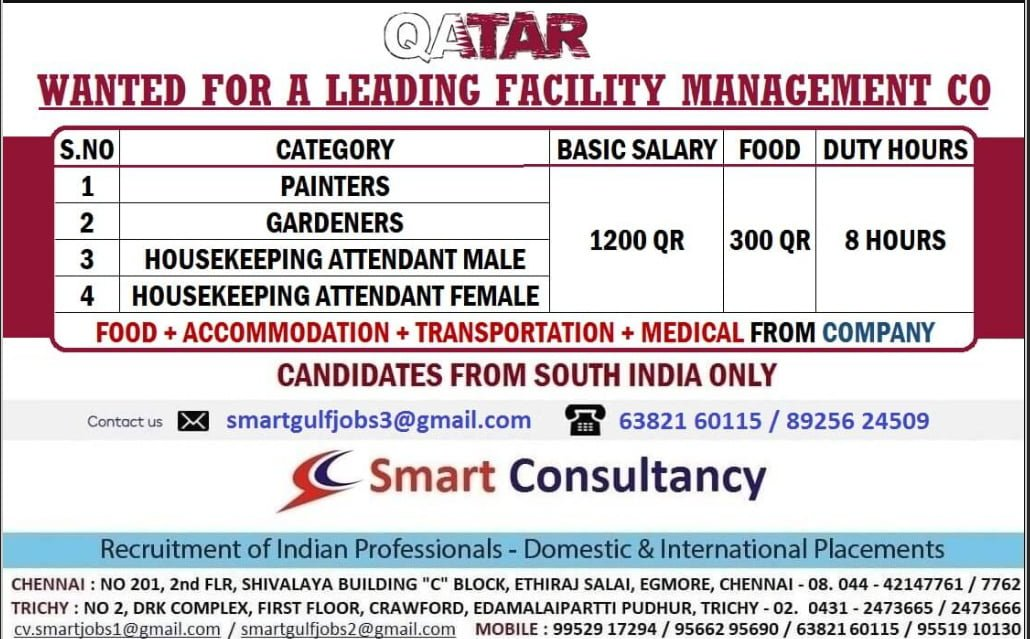 WANTED FOR A LEADING FACILITY MANAGEMENT CO-QATAR