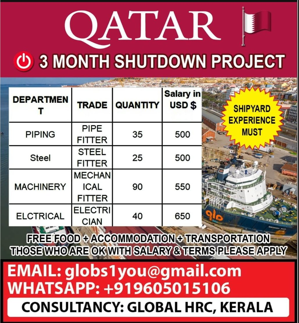 REQUIRED FOR A SHUTDOWN PROJECT-QATAR