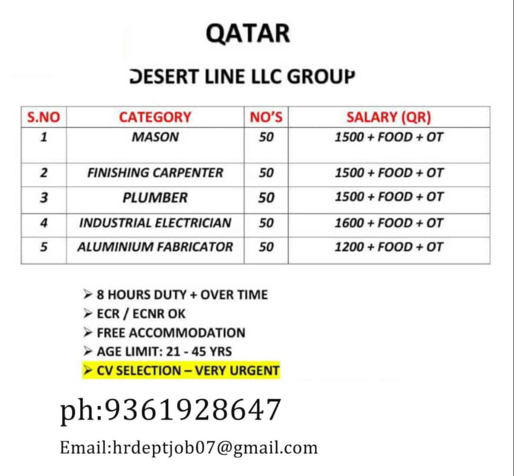 REQUIRED FOR A DESERT LINE LLC GROUP-QATAR