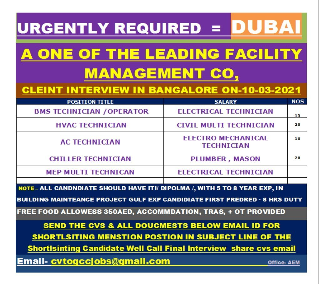 URGENTLY REQUIRED FOR A LEADING FACILITY MANAGEMENT COMPANY-DUBAI