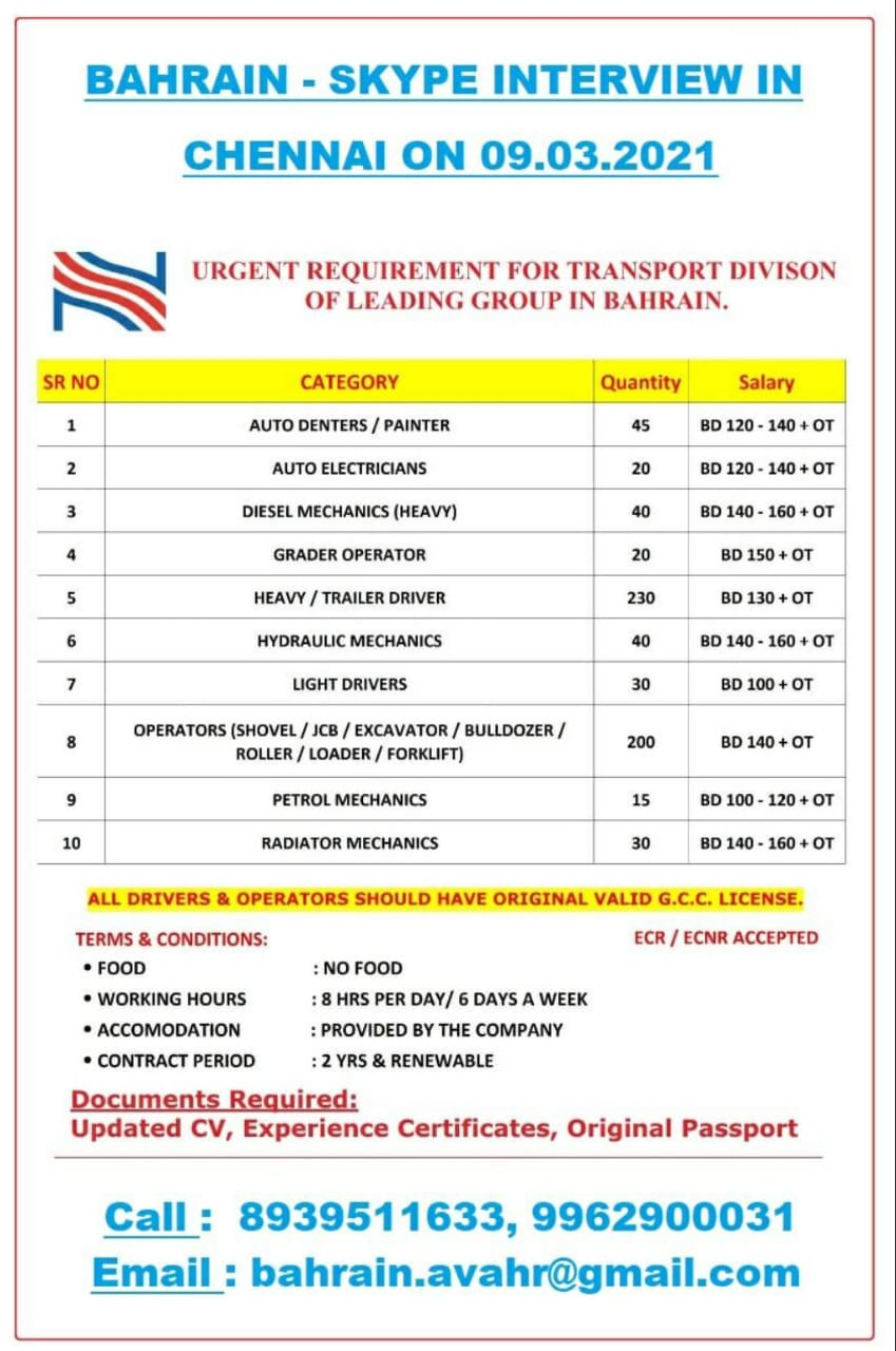 URGENTLY REQUIRED FOR TRANSPORT DIVISION-BAHRAIN