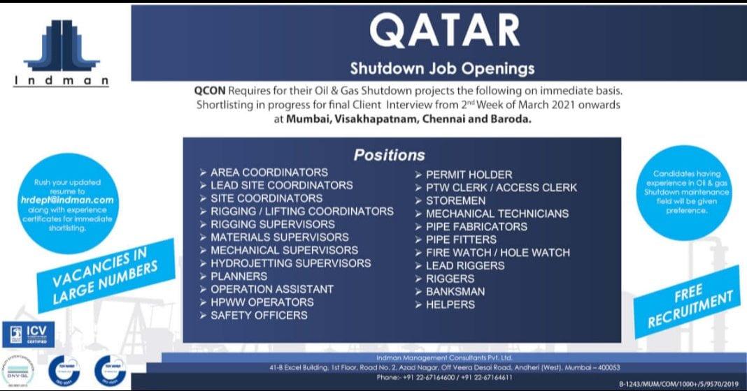 QATAR SHUTDOWN JOB OPENINGS
