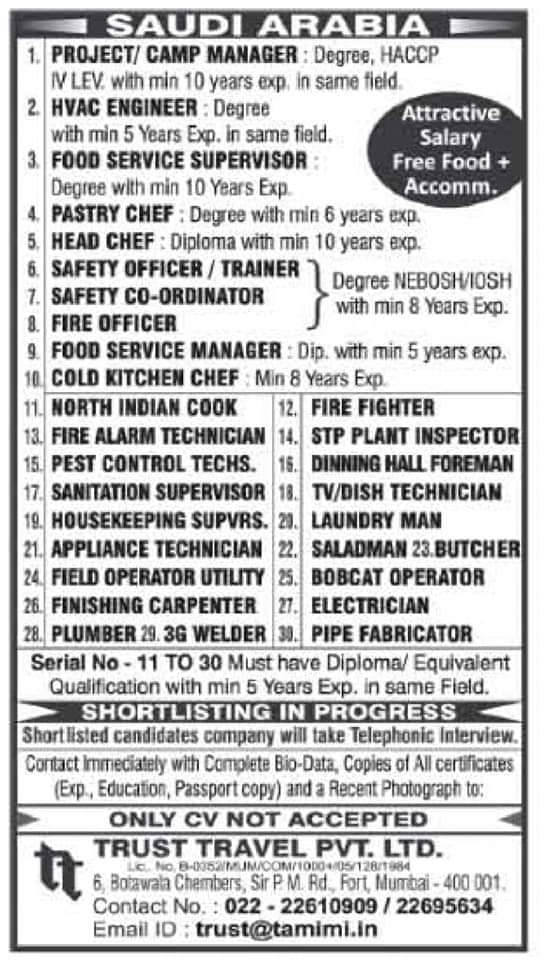 REQUIRED FOR A LEADING COMPANY-SAUDI ARABIA