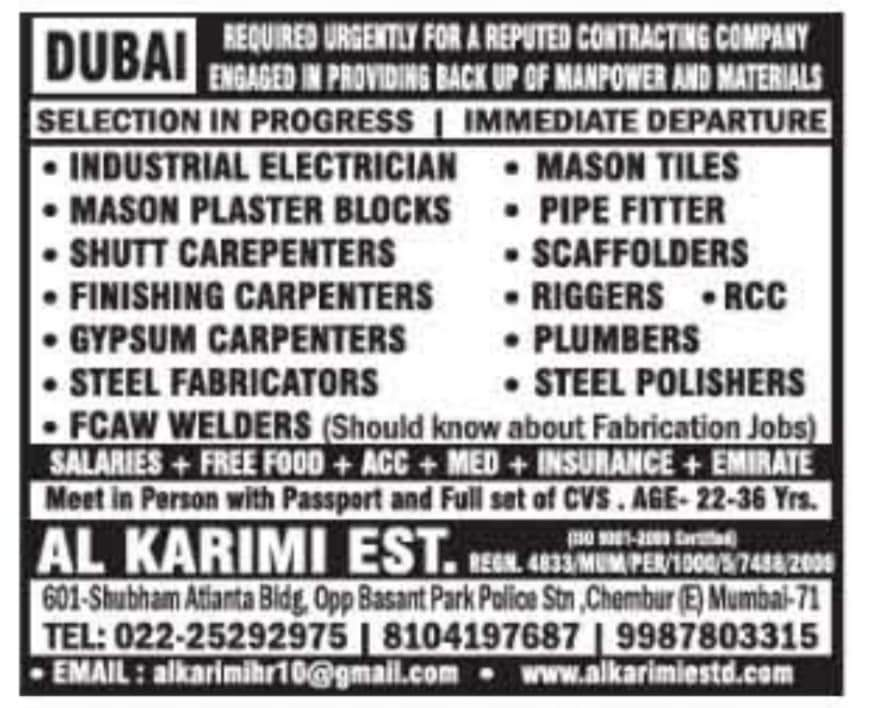REQUIRED FOR A REPUTED CONTRACTING COMPANY-DUBAI