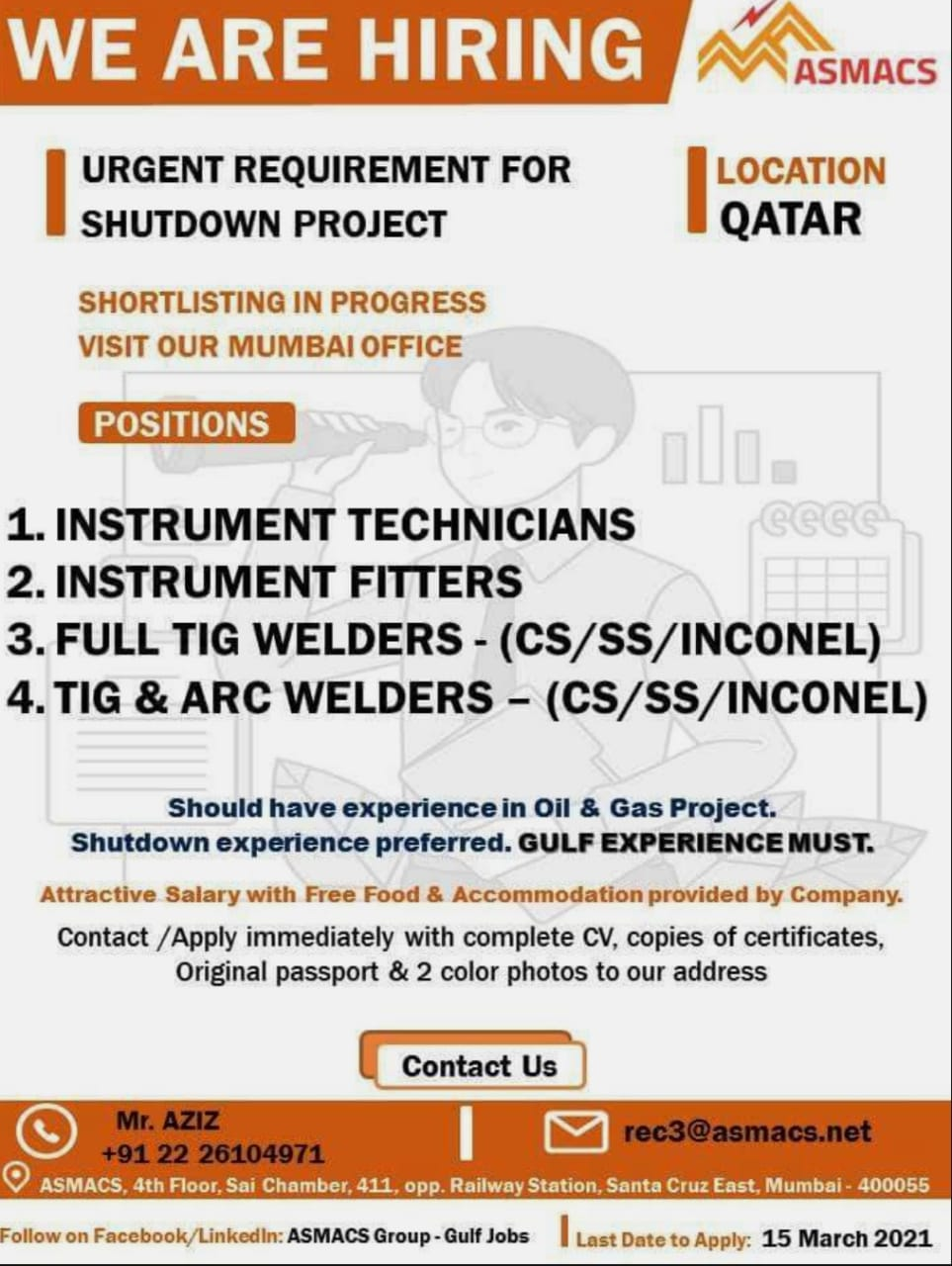 URGENT REQUIREMENT FOR SHUTDOWN PROJECT QATAR