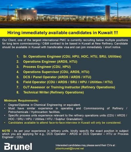 Hiring immediately available candidates in Kuwait !!!