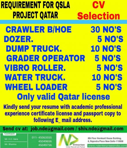 REQUIREMENT FOR QSLA PROJECT QATAR