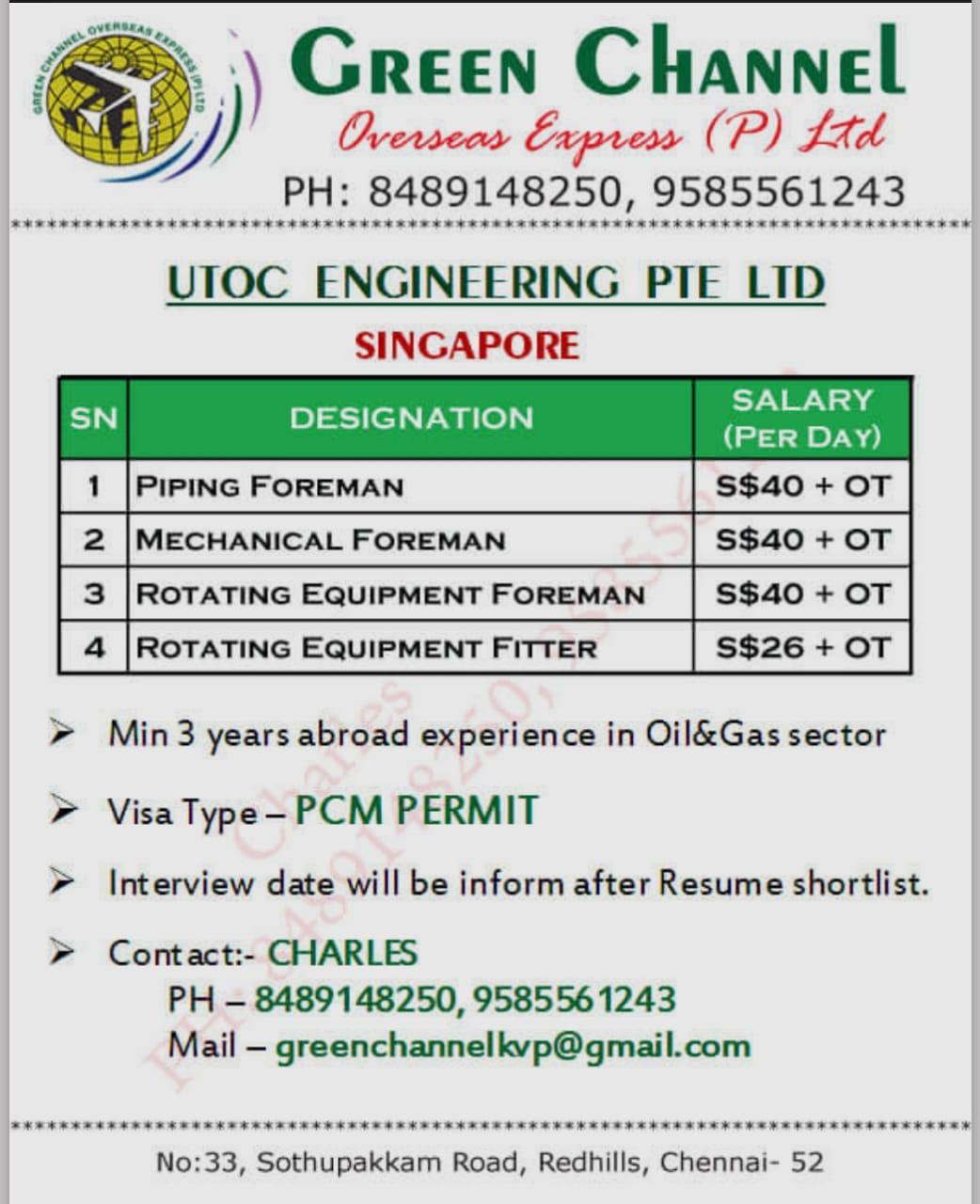 UTOC ENGINEERING PTE LTD SINGAPORE