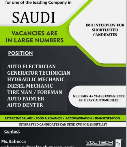 Immediate Requirement for one of the leading Company in SAUDI
