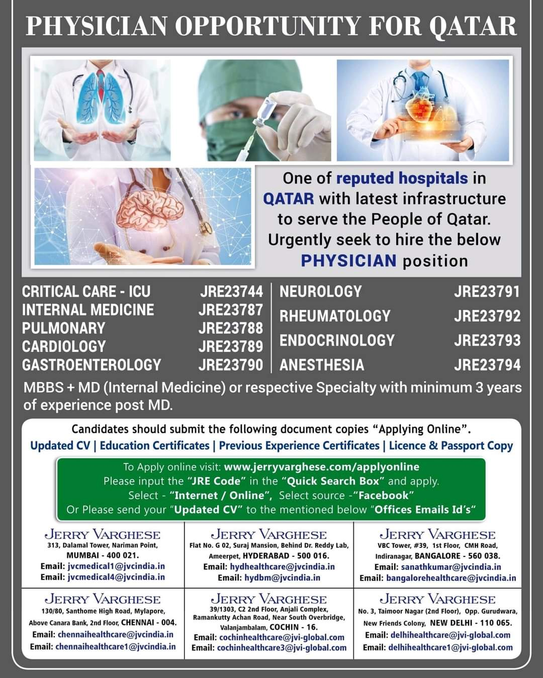 PHYSICIAN OPPORTUNITY FOR QATAR