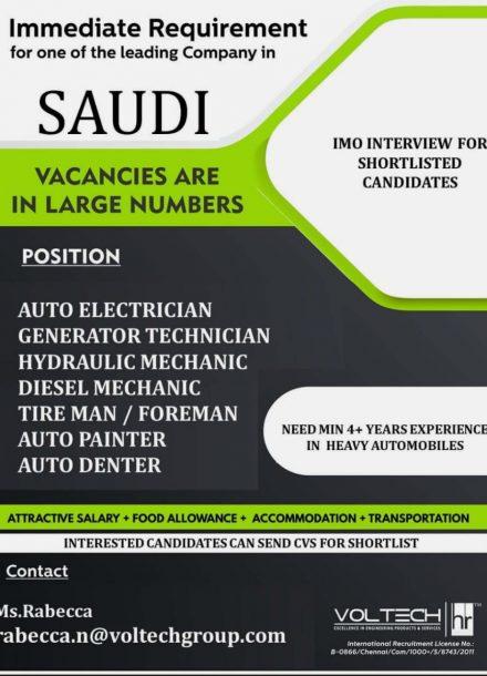 IMMEDIATE REQUIREMENT FOR LEADING COMPANY IN SAUDI ARABIA