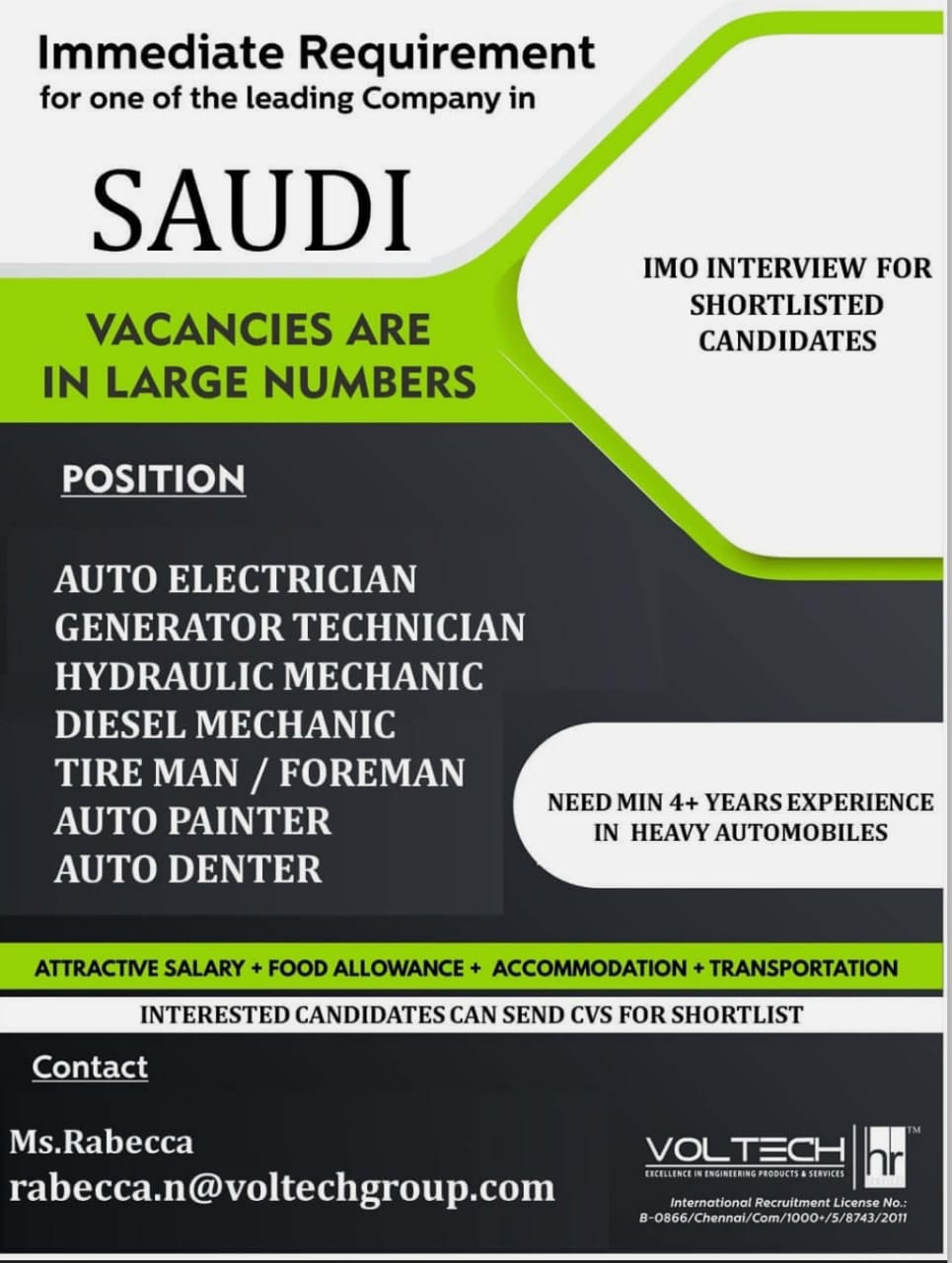 IMMEDIATE REQUIREMENT FOR LEADING COMPANY IN SAUDI ARABIA