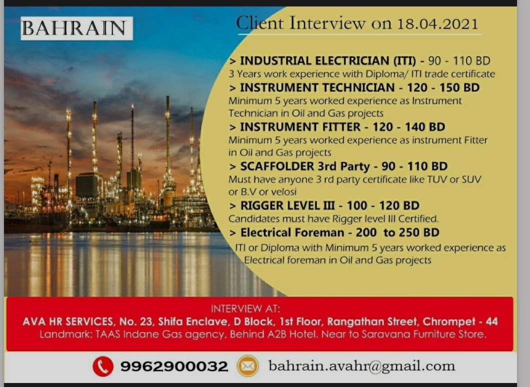 REQUIRED FOR A LEADING COMPANY-BAHRAIN