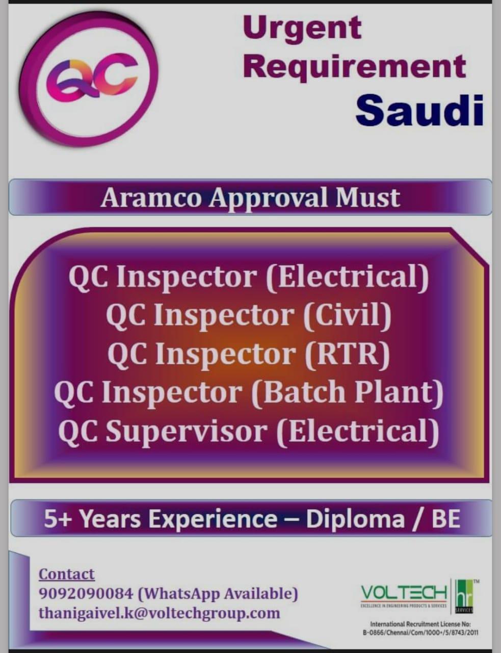 Urgent Requirement for a leading company-Saudi Arabia