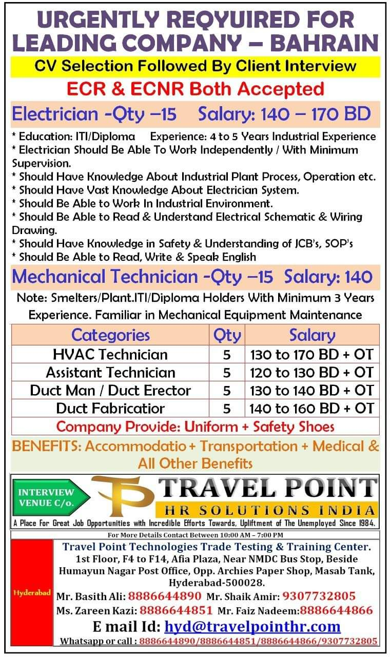 URGENT REQUIREMENT FOR BAHRAIN LEADING COMPANY