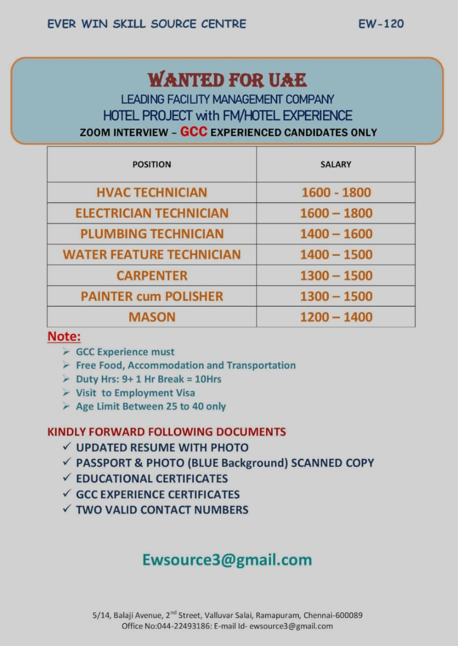 WANTED FOR UAE HOTEL PROJECT WITH FM/HOTEL EXPERIENCE