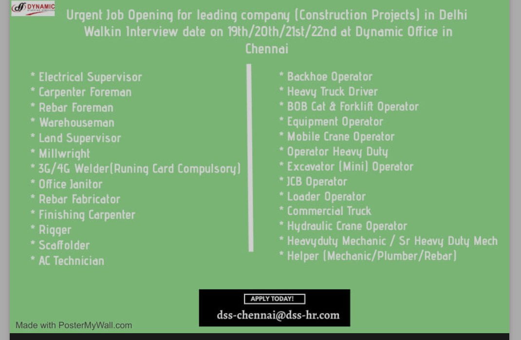URGENT JOB OPENING FOR LEADING COMPANY [CONSTRUCTION PROJECTS) IN DELHI
