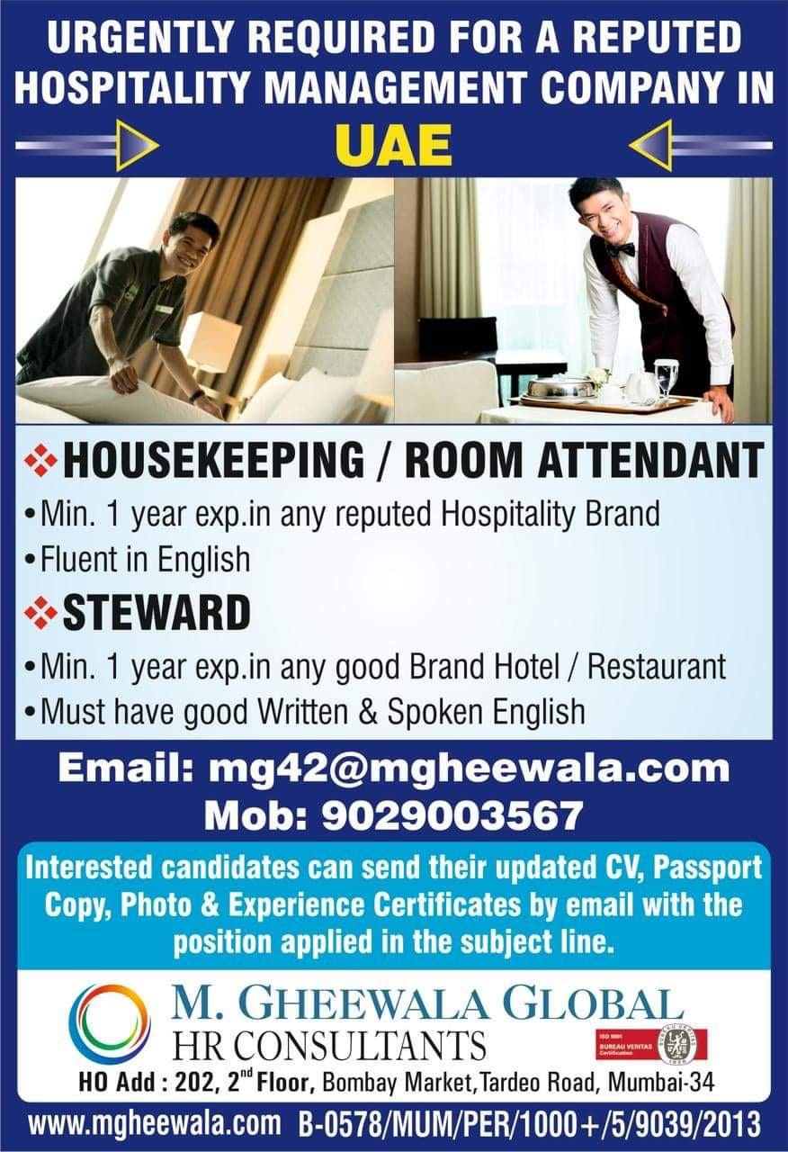 URGENTLY REQUIRED FOR A REPUTED HOSPITALITY MANAGEMENT COMPANY IN UAE