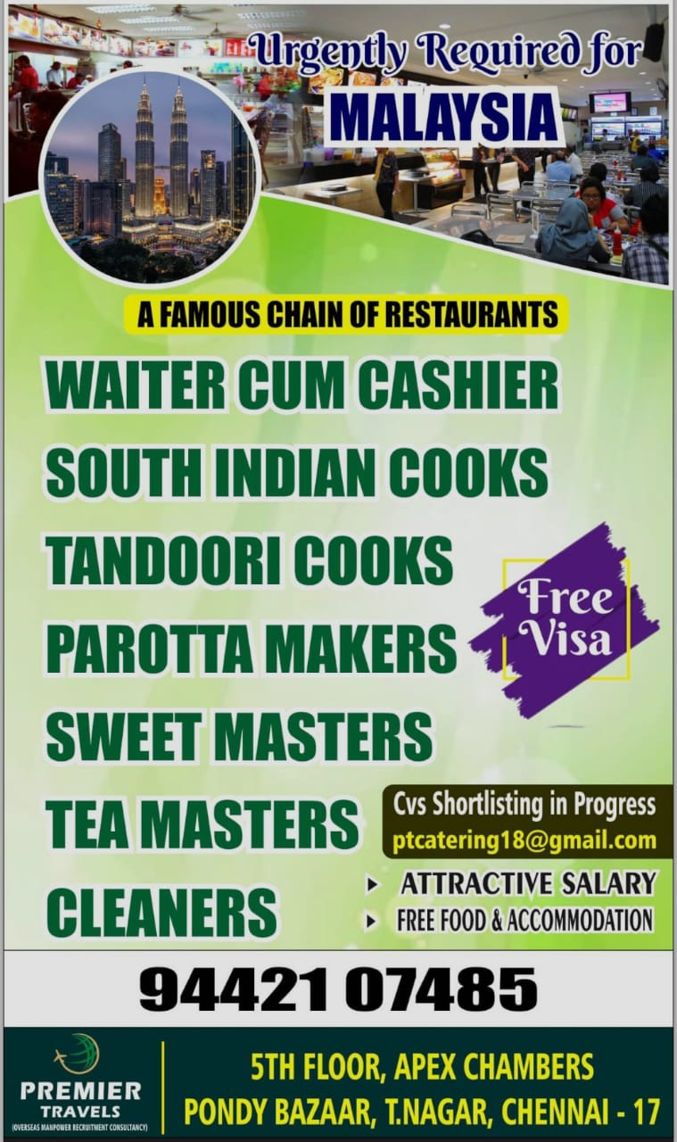 URGENTLY REQUIRED FOR MALAYSIA CHAIN OF RESTAURANT