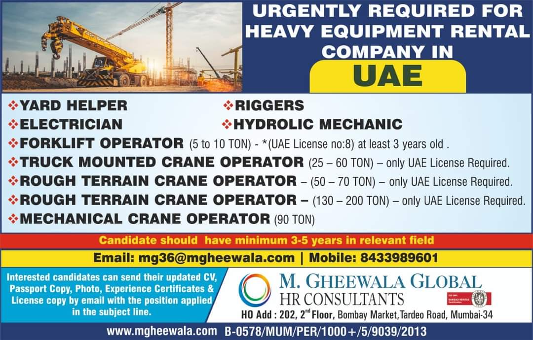 URGENTLY REQUIRED FOR HEAVY EQUIPMENT RENTAL COMPANY IN UAE