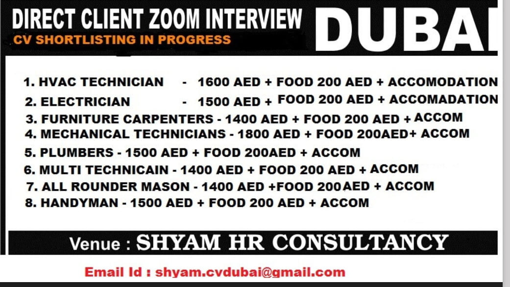 URGENT REQUIREMENT FOR A LEADING COMPANY-DUBAI
