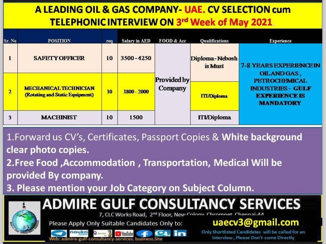 REQUIRED FOR A LEADING OIL & GAS COMPANY- UAE