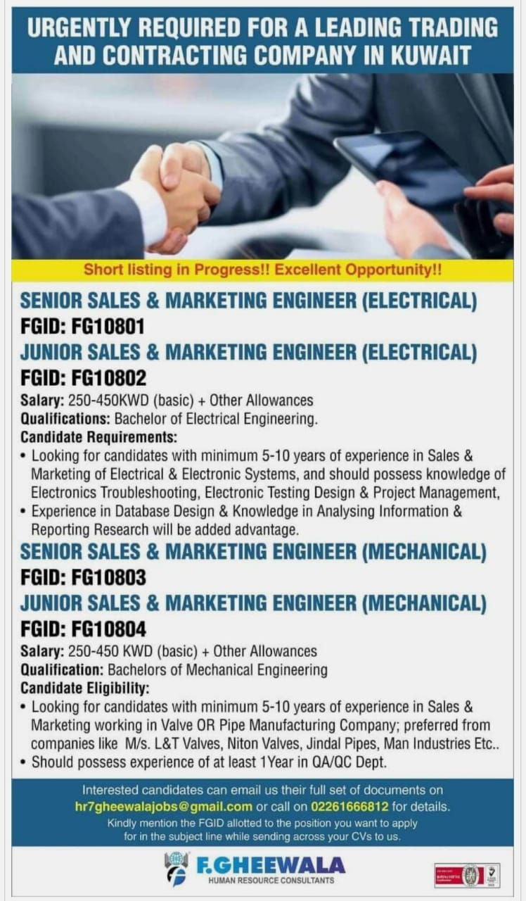 URGENTLY REQUIRED FOR A LEADING TRADING AND CONTRACTING COMPANY IN KUWAIT