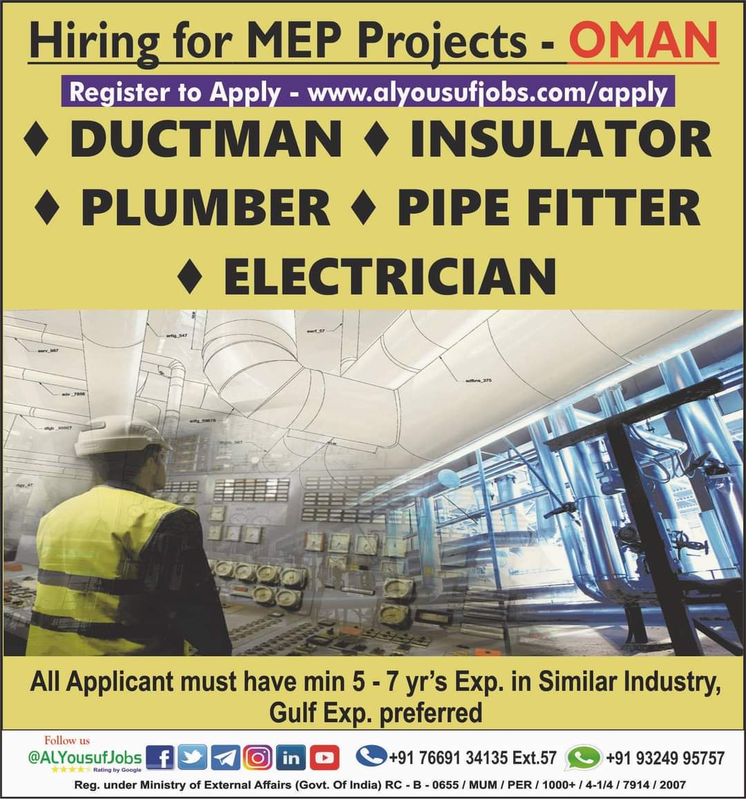 HIRING FOR MEP PROJECTS – OMAN