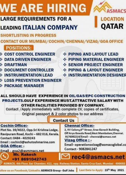 REQUIREMENTS FOR A LEADING ITALIAN COMPANY-QATAR