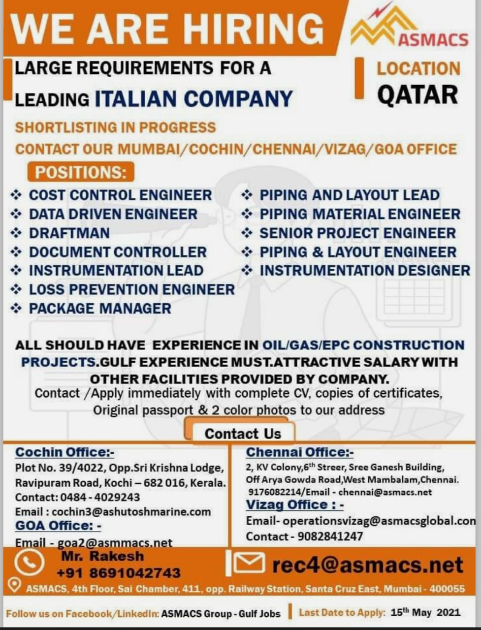 REQUIREMENTS FOR A LEADING ITALIAN COMPANY-QATAR