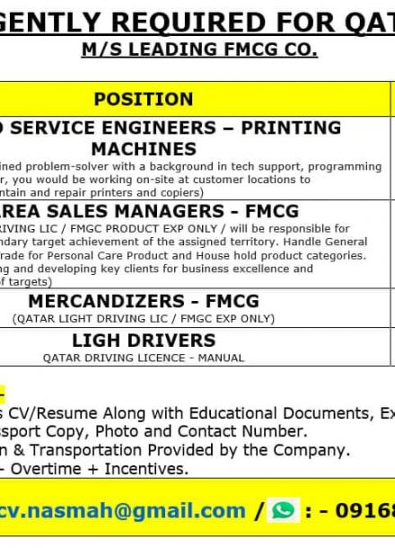 URGENTLY REQUIRED FOR M/S LEADING FMCG CO-QATAR