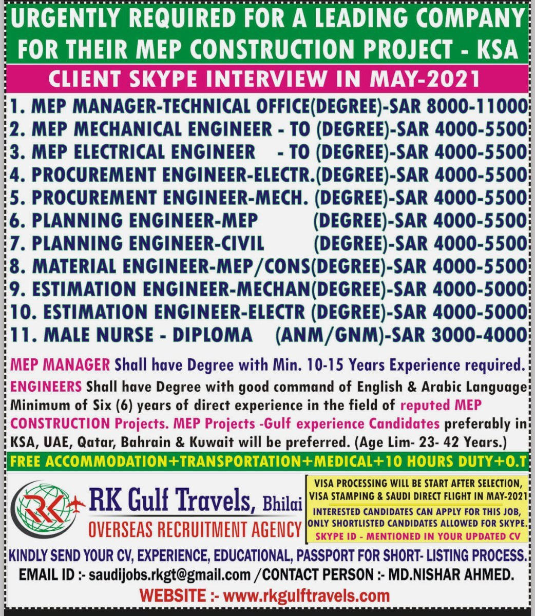 URGENTLY REQUIRED FOR A LEADING COMPANY FOR THEIR MEP CONSTRUCTION PROJECT – KSA