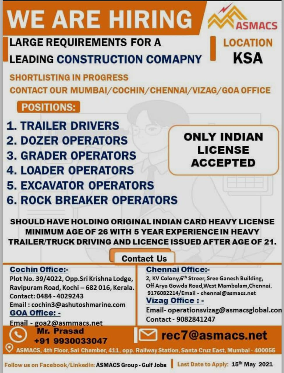REQUIREMENT FOR LEADING CONSTRUCTION COMPANY IN KSA