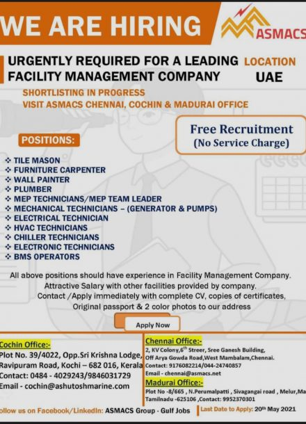 URGENTLY REQUIRED FOR A LEADING FACILITY MANAGEMENT COMPANY IN UAE