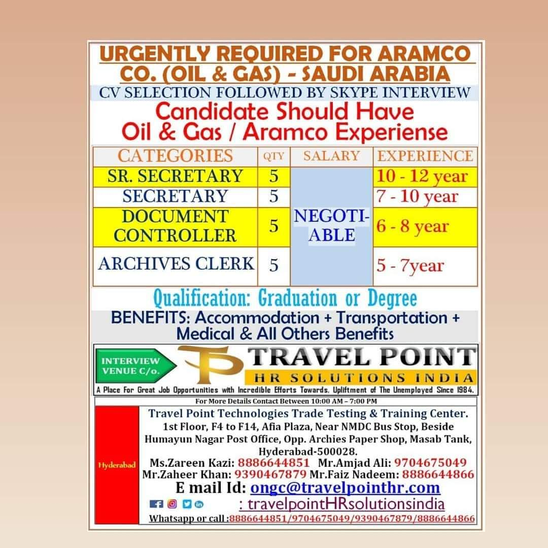 URGENTLY REQUIRED FOR ARAMCO COMPANY
