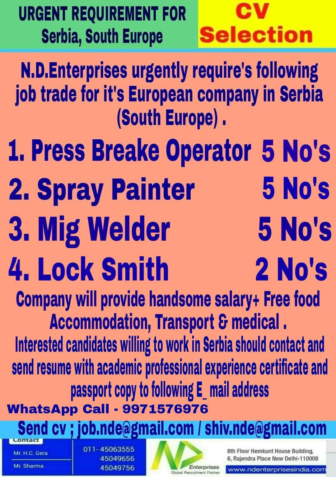 URGENT REQUIREMENT FOR SERBIA, SOUTH EUROPE