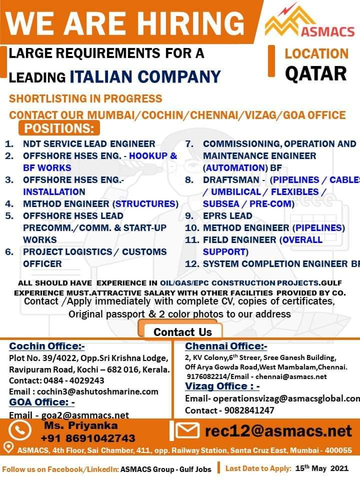 REQUIREMENT FOR LEADING ITALIAN COMPANY