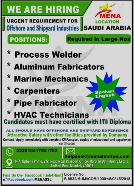 URGENTLY REQUIRED FOR OFFSHORE AND SHIPYARD INDUSTRY