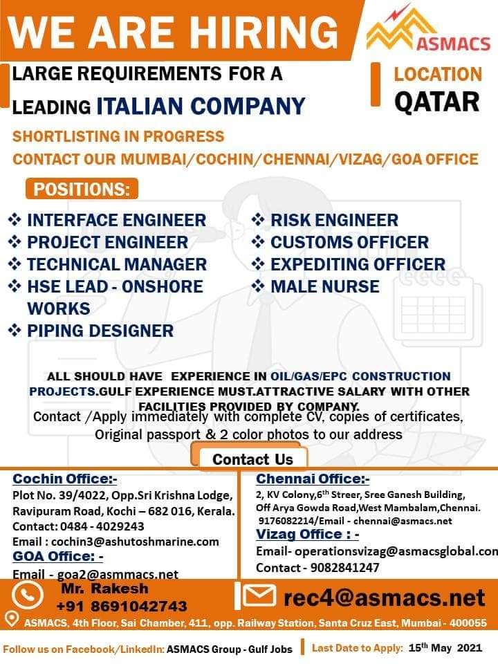 REQUIREMENTS FOR A LEADING ITALIAN COMPANY