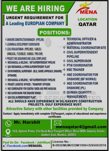 URGENTLY REQUIRED FOR LEADING EUROPIAN COMPANY