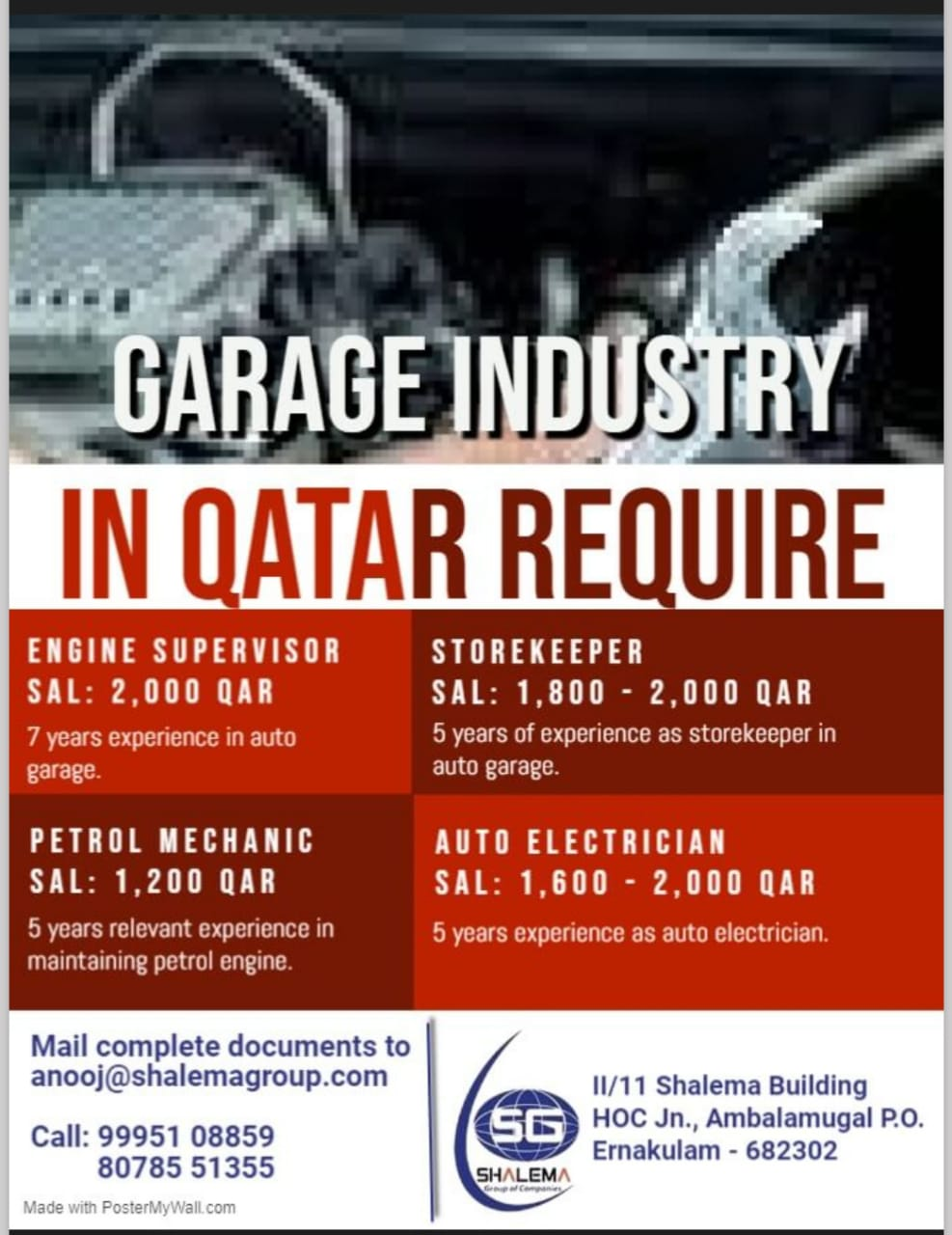 REQUIREMENT FOR GARAGE INDUSTRY IN QATAR