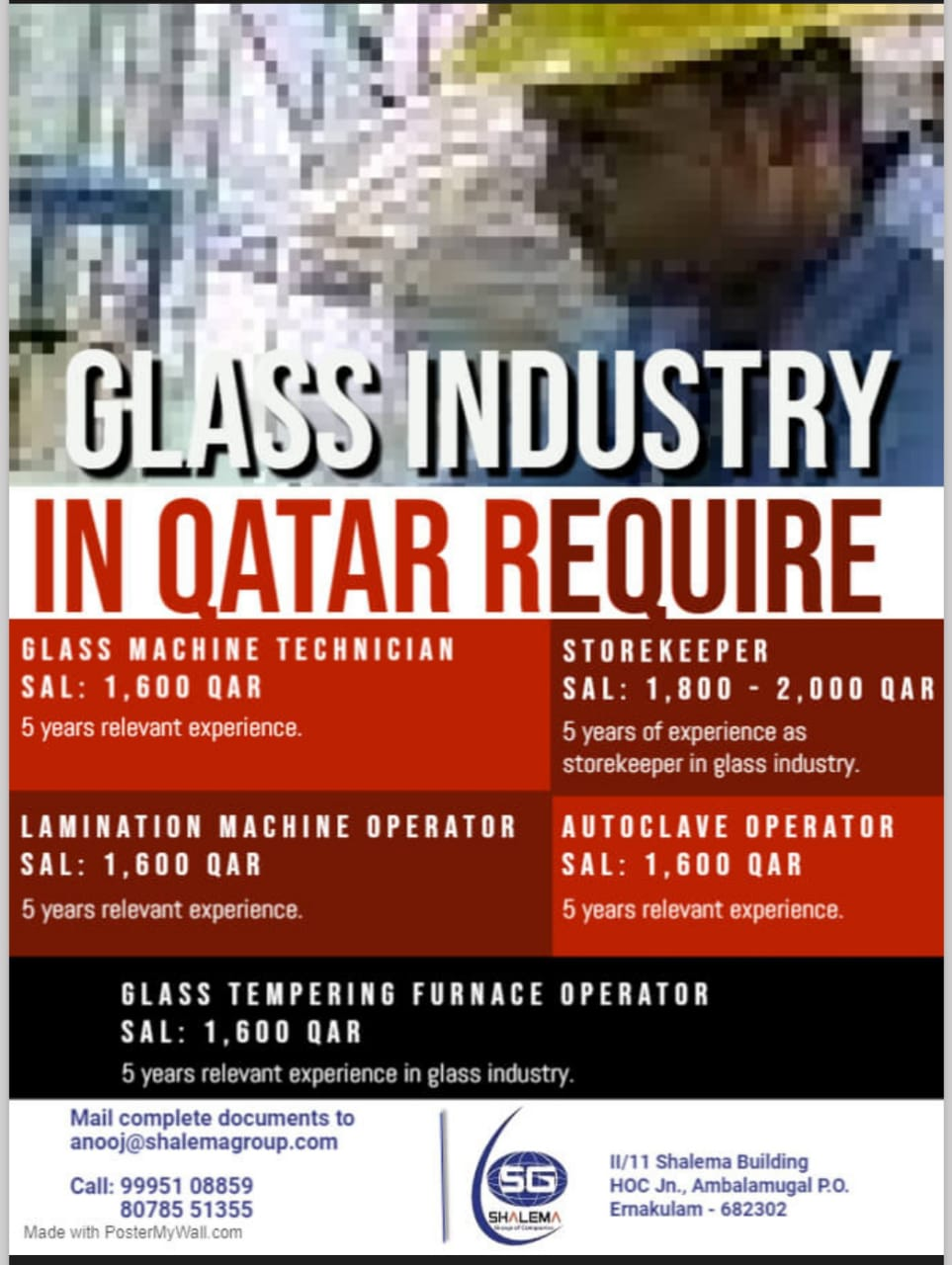 REQUIREMENT FOR GLASS INDUSTRY IN QATAR QATAR