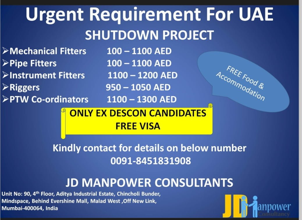 URGENT REQUIREMENT FOR UAE SHUTDOWN PROJECT