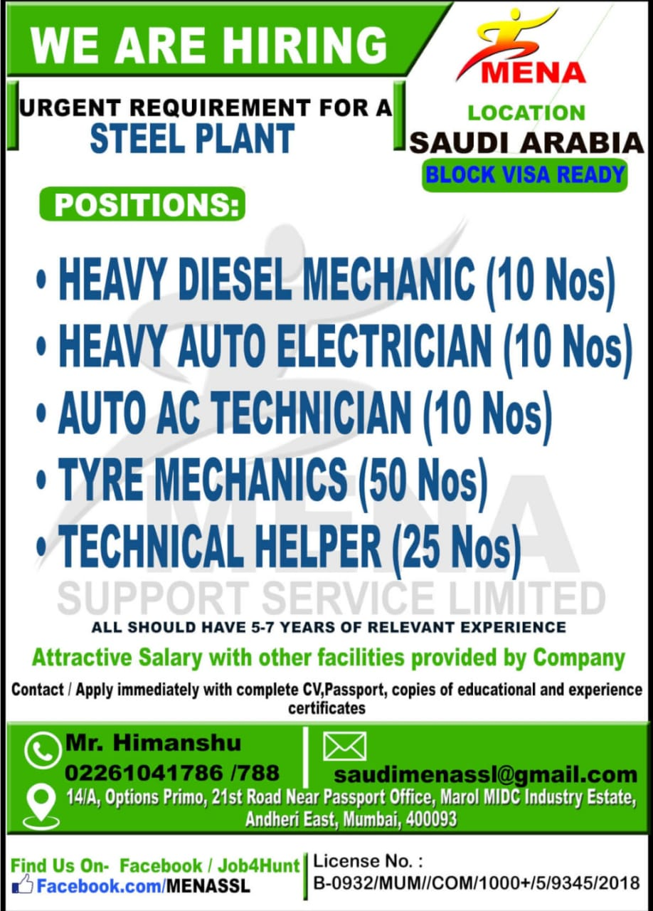 URGENT REQUIREMENT FOR A STEEL PLANT SAUDI ARABIA