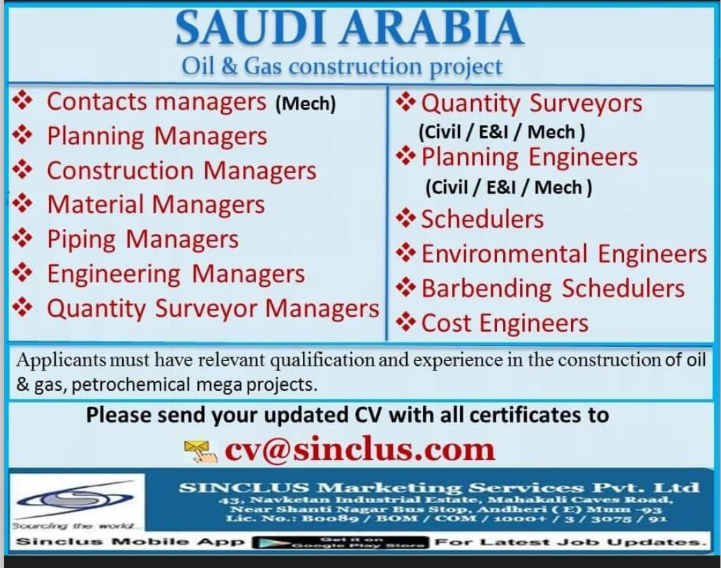 REQUIREMENT FOR SAUDI ARABIA OIL AND GAS PROJECT