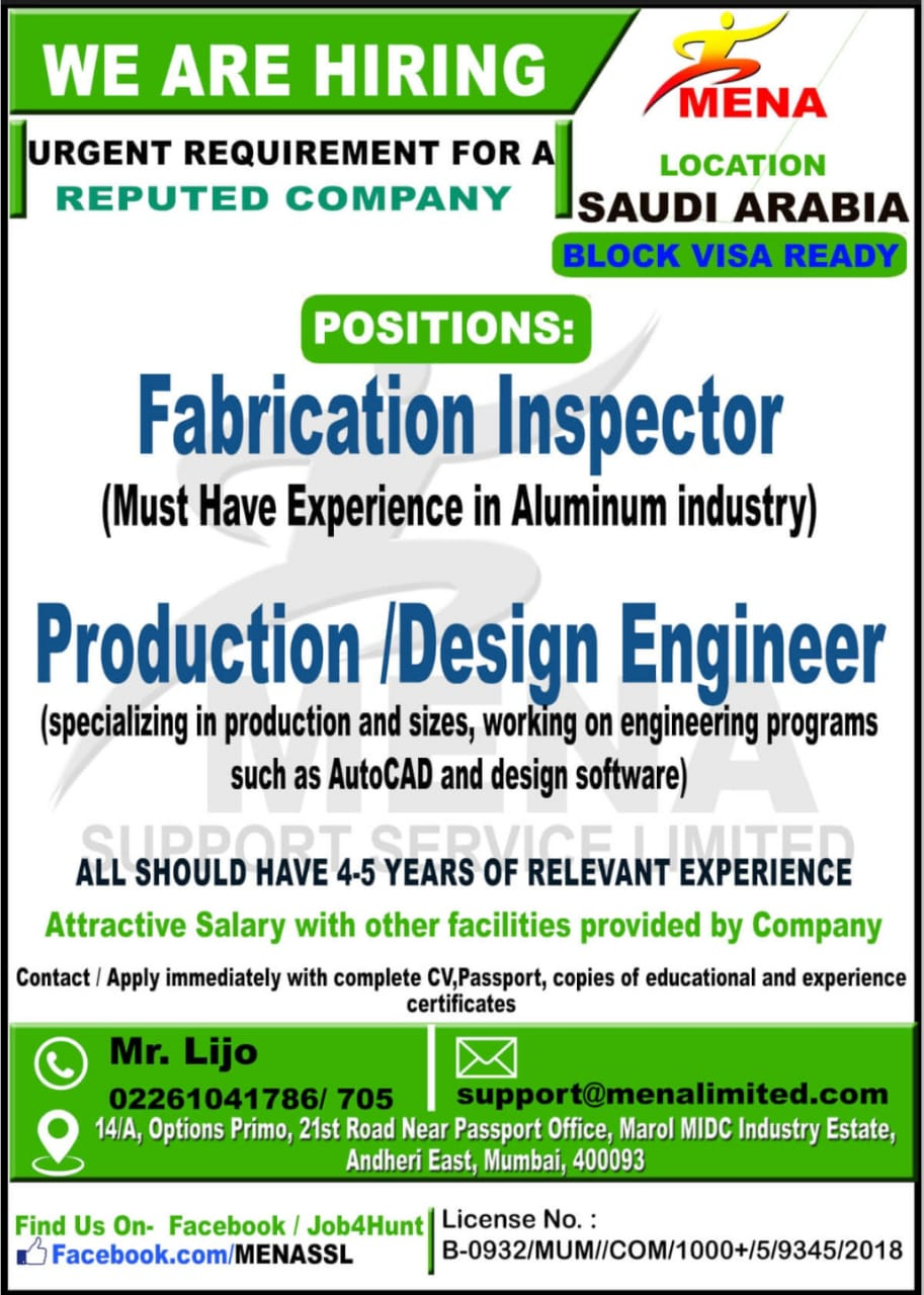 URGENT REQUIREMENT FOR A REPUTED COMPANY SAUDI ARABIA