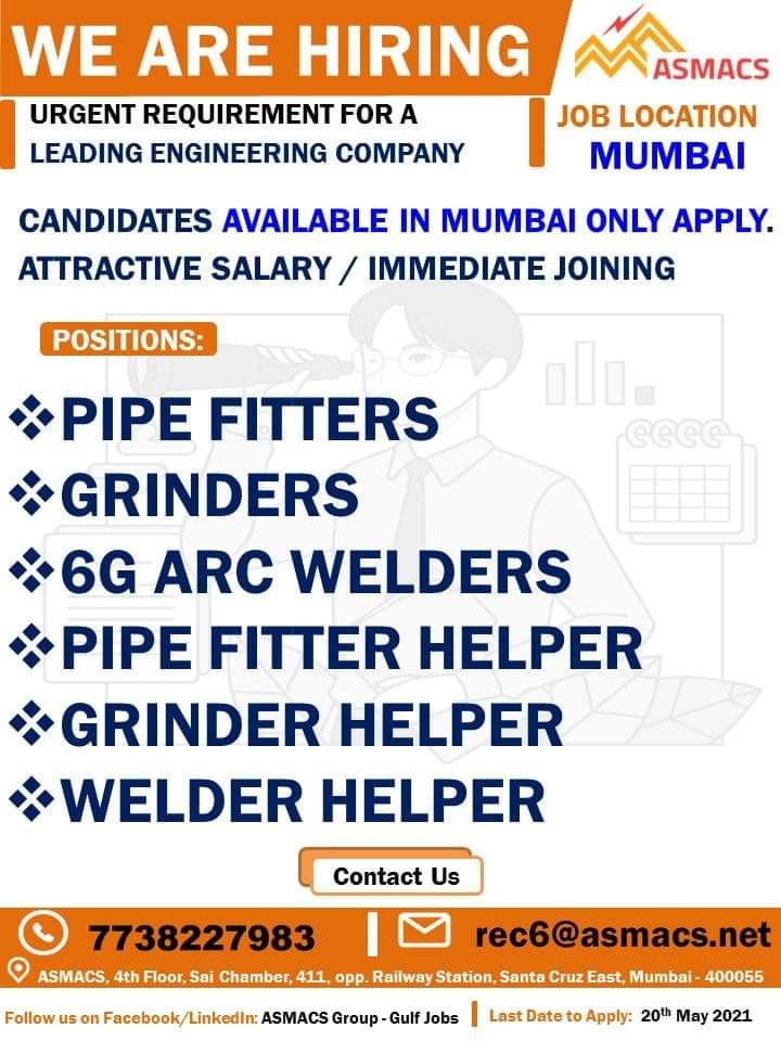 URGENT REQUIREMENT FOR A LEADING ENGINEERING COMPANY MUMBAI