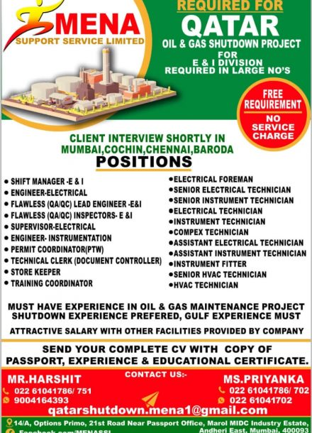 REQUIRED FOR QATAR OIL & GAS SHUTDOWN PROJECT FOR E & I DIVISION REQUIRED