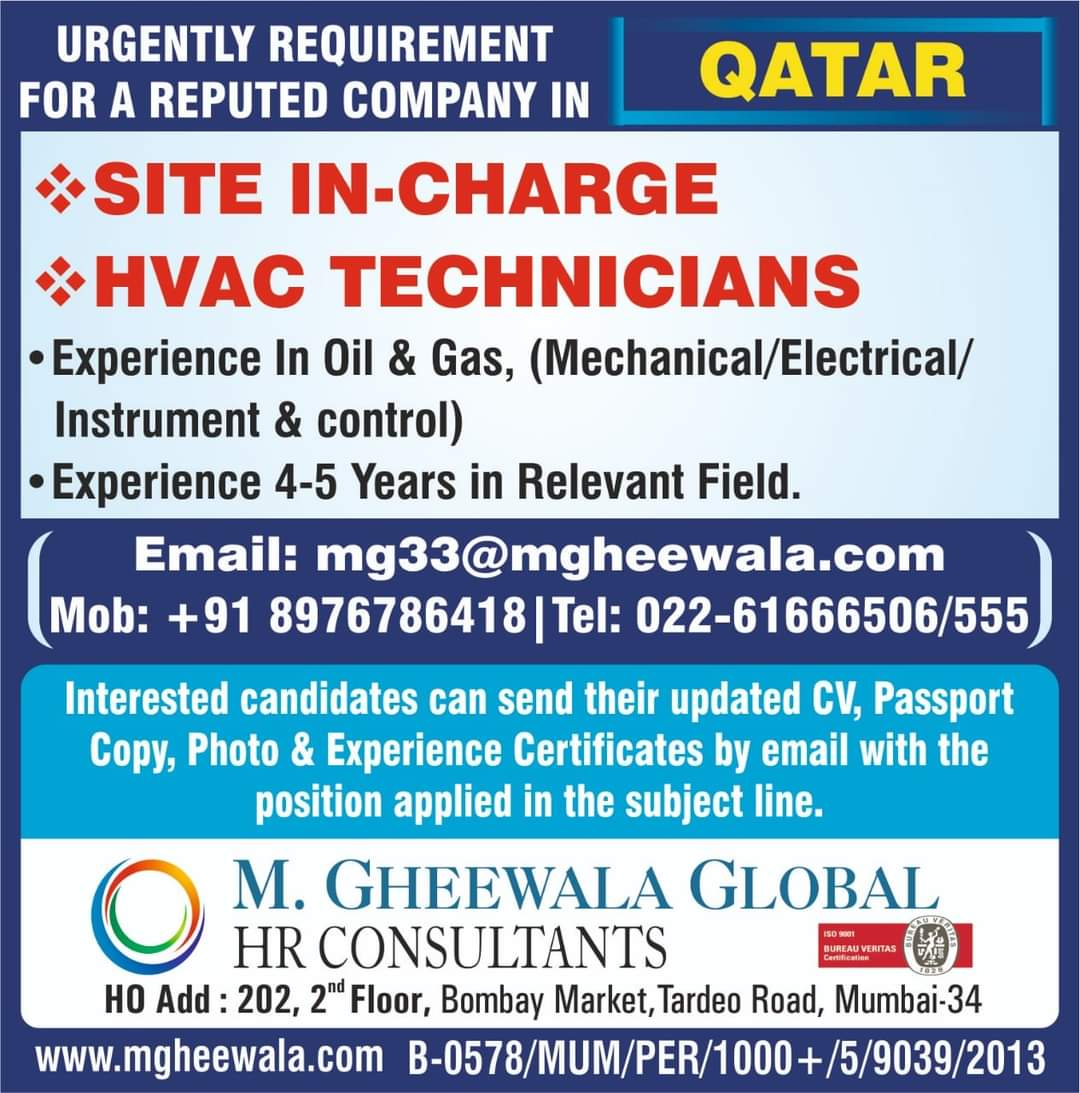 URGENTLY REQUIRED FOR REPUTED COMPANY IN QATAR