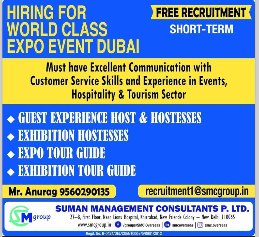 HIRING FOR WORLD CLASS EXPO EVENT DUBAI